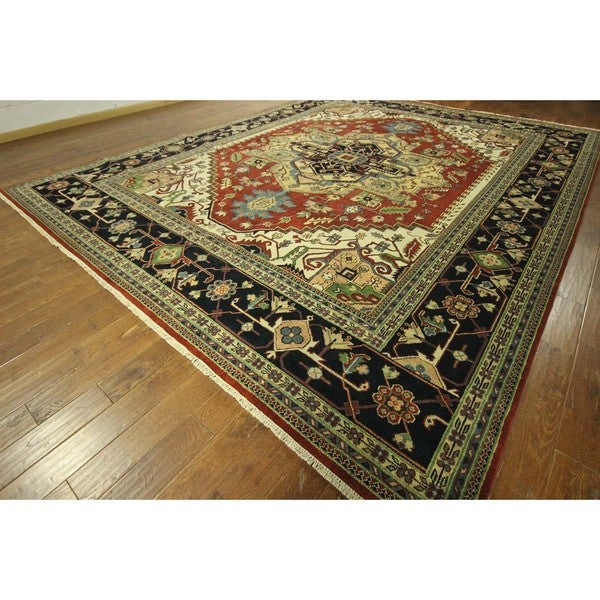 Serapi Vibrance Collection 5 Red/ Navy Heriz Hand-knotted Wool Area Rug (12' x 18', 12' x 12') 16146594