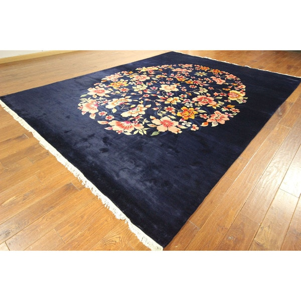 Dark Navy Blue Hand Knotted Wool Chinese Floral Area Rug