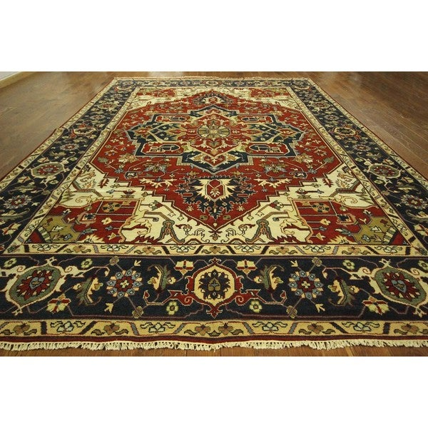 Mihrab Motif Red/ Navy Blue Hand-knotted Heriz Serapi Wool Area Rug (10'3 x 14')