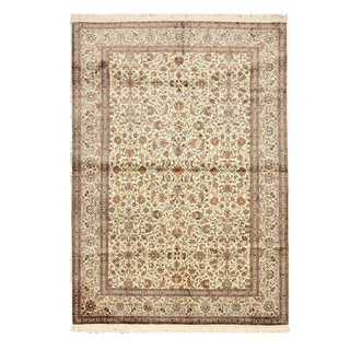 EORC X35980 Ivory Hand-knotted Silk Kashmir Rug (6'2 x 8'9)