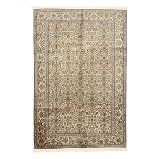 EORC X35960 Ivory Hand-knotted Silk Kashmir Rug (6'1 x 9'1)