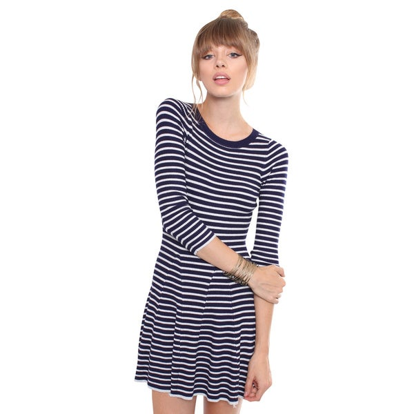 Juniors' Contemporary Navy and White Striped Sweater Dress
