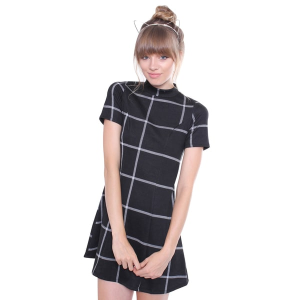 Juniors' Contemporary High Neck Black Gingham Print A-line Dress
