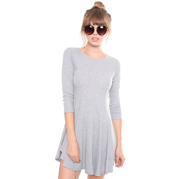 Juniors' Grey Lace Back Ribbed Dress