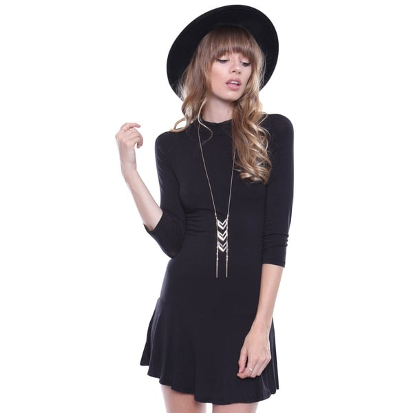 Juniors' Contemporary Black 3/4 Sleeve Mock Neck Peplum Dress