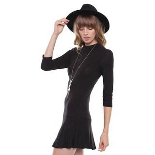 Juniors' Contemporary Black 3/4 Sleeve Mock Neck Peplum Dress