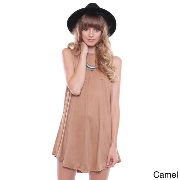 Juniors' Contemporary Suede Sleeveless Swing Dress