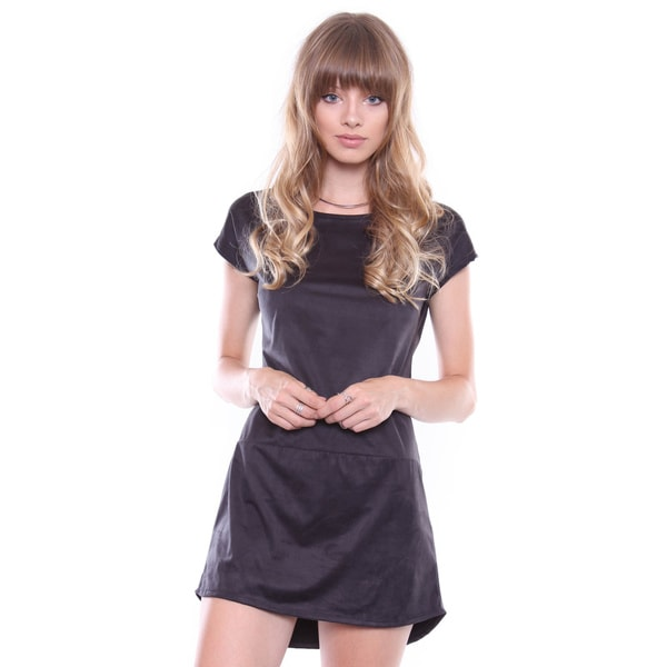 Juniors' Black Suede T-shirt Dress