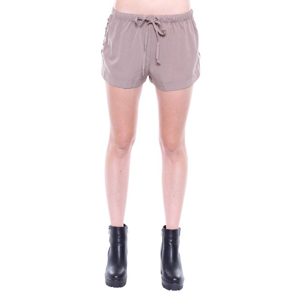 Juniors' Contemporary Khaki Drawstring Lace Up Shorts