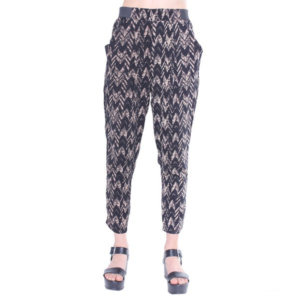 Juniors' Contemporary Black and Khaki Woven Chevron Harem Pants