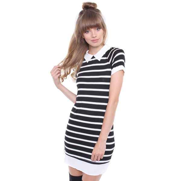 Juniors' Black and White Peter Pan Collar Striped Dress