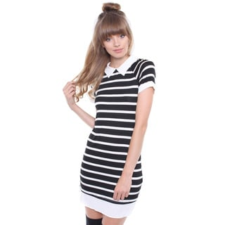 Juniors' Black and White Peter Pan Collar Striped Dress