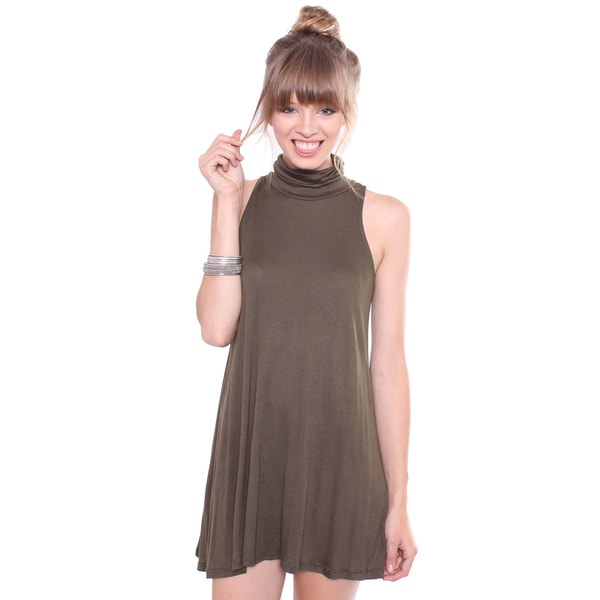 Juniors' Olive Turtle Neck Tunic Dress