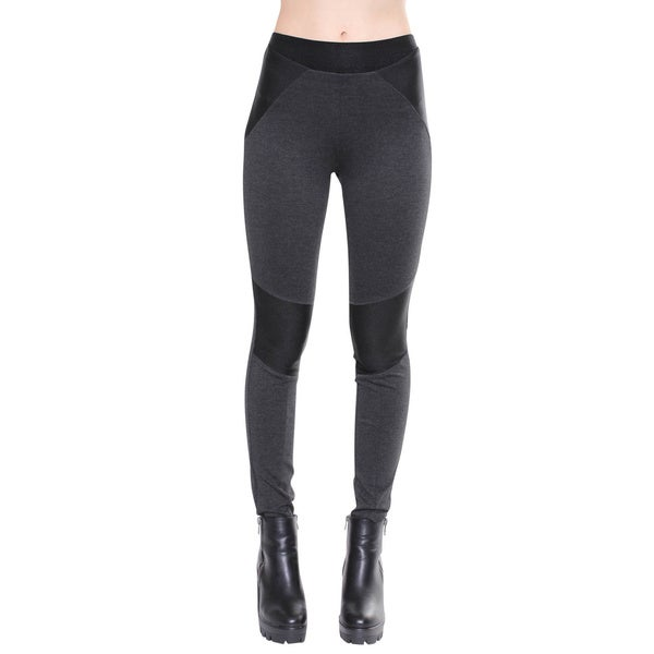 Juniors' Contemporary Charcoal Moto Leggings with Ribbed Knee Patch