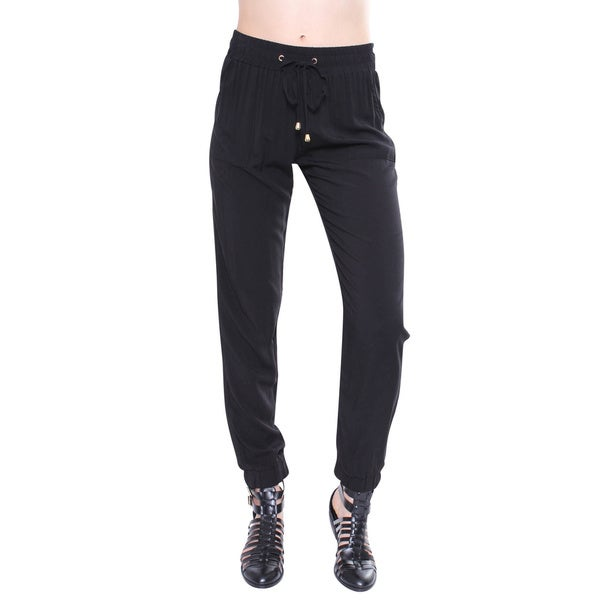 Juniors' Contemporary Black Pant with Gold Hardware