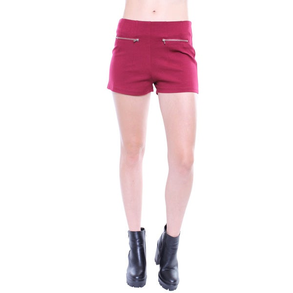 Juniors' Contemporary Burgundy High-waisted Shorts with Zipper Details
