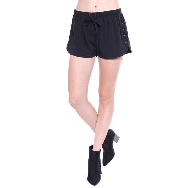 Juniors' Boho Side Lace Up Black Soft Shorts
