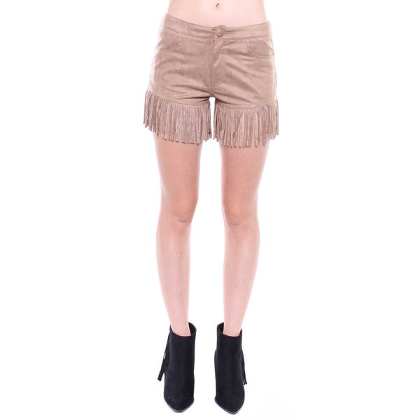 Juniors' Brown Suede Fringe Shorts