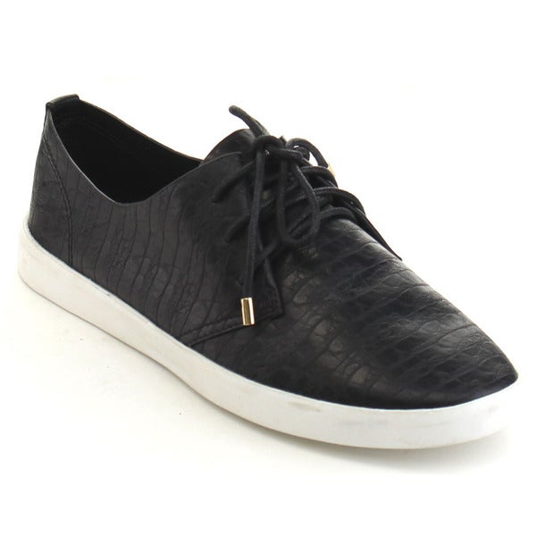 Black Swan Bailey-1 Women's Comfort Croco-embossing Lace Up Flat Sneakers