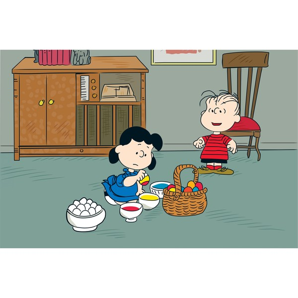 """Marmont Hill - """"Lucy Dying Easter Eggs"""" Peanuts Print on Canvas"""