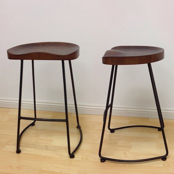 Mod Made Potter Wood Rustic Metal Counter Stool Set Of 2
