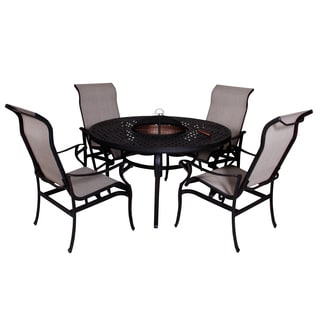 Lorraine Dining Height Fire Pit Table and Chairs (5-piece Set)