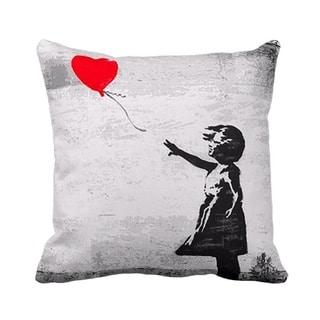 'Girl with Balloon' Gray London Banksy Throw Pillow