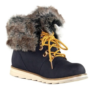 Olivia Miller 'Ludlow' Faux Fur Cuff Lace-up Boots