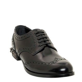 Dolce & Gabbana Brushed Calfskin Boy Derby Shoes With Studded Heel