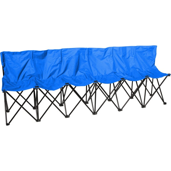 Portable 6-seat Sports Bench with Back Sits 6 People (Blue)