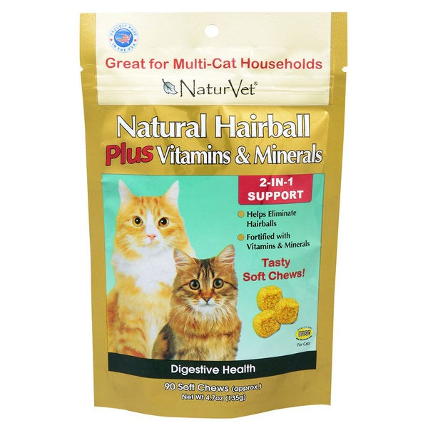 NaturVet Natural Hairball PLUS Vitamins and Minerals Soft Chews