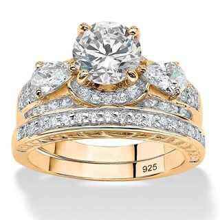 PalmBeach Classic CZ 14k Yellow Gold over Sterling Silver Round Cubic Zirconia Bridal Set