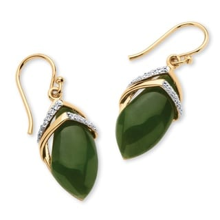 PalmBeach Naturalist 18k Goldplated Marquise-Shaped Jade Cabochon Cubic Zirconia Drop Earrings