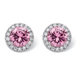 PalmBeach Color Fun Silvertone Round Pink Cubic Zirconia Halo Stud Earrings