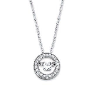 PalmBeach .45 TCW CZ in Motion (TM) Cubic Zirconia Halo Pendant Necklace in Rhodium-Plated Sterling Silver Classic CZ