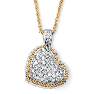 PalmBeach Bold Fashion 18k Goldplated Cubic Zirconia Two-tone Puffed Heart Necklace