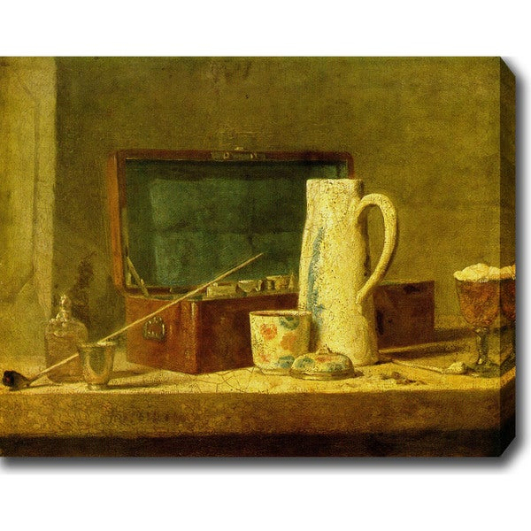 Jean-Baptiste-Simon Chardin 'Still Life with Pipe an Jug' Oil on Canvas Art