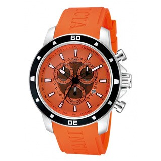 Invicta Men's Chronograph Specialty Orange Dial Orange Polyurethane Day/ Date Watch