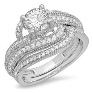 14k White Gold 1 1/2ct TDW Diamond Bridal Ring Twisted Band Set (I-J, I1-I2)