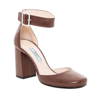 Prada Women's Brown Leather Ankle Strap Pumps