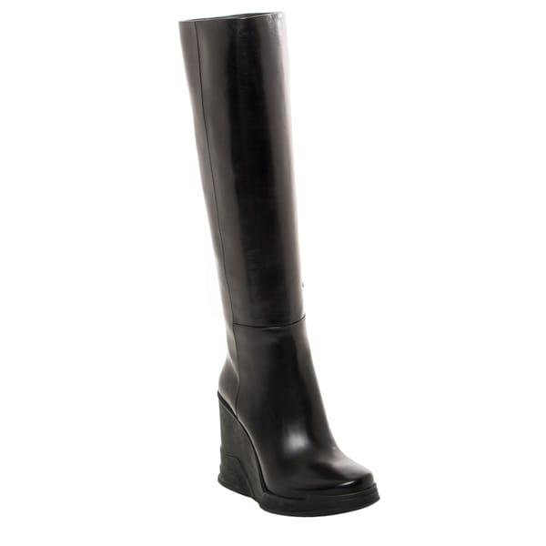 Prada Leather Knee-high Wedge Boots