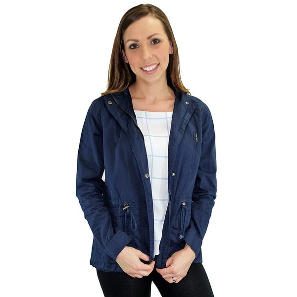 Women's Contemporary Marin County Navy Hooded Utility Jacket