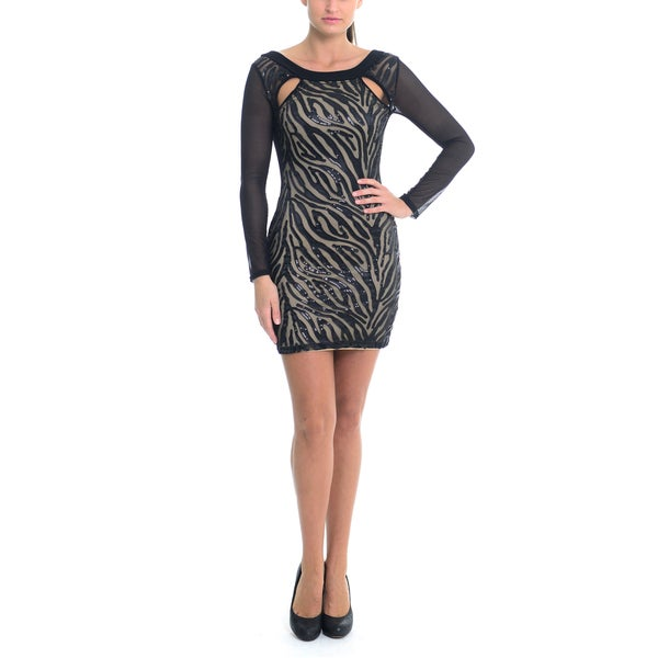 Sentimental NY Sheer Long Sleeves Back Cut out  Dress in Laser Cut Zebra Sequins 16148945