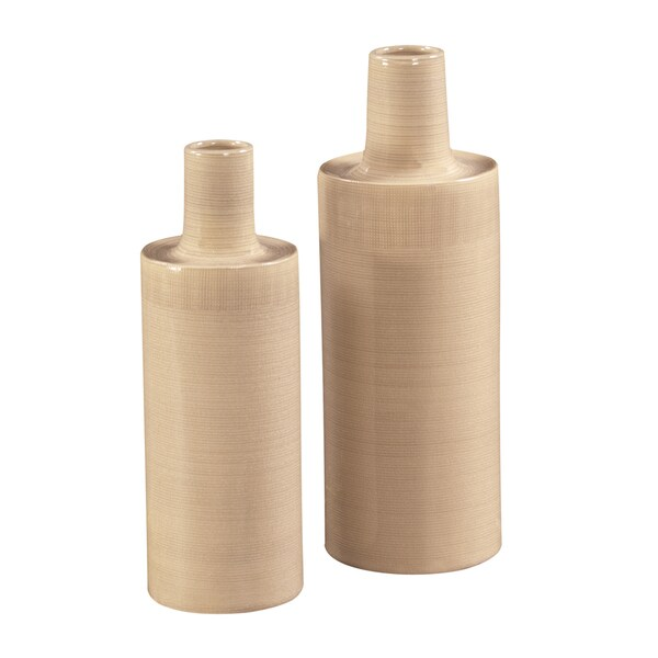 Howard Elliott Cream Crosshatch Ceramic Vases (Set of 2)
