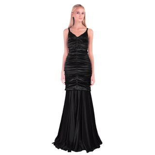 Dolce & Gabbana Black Ruched V-Neckline Trumpet Formal Evening Dress