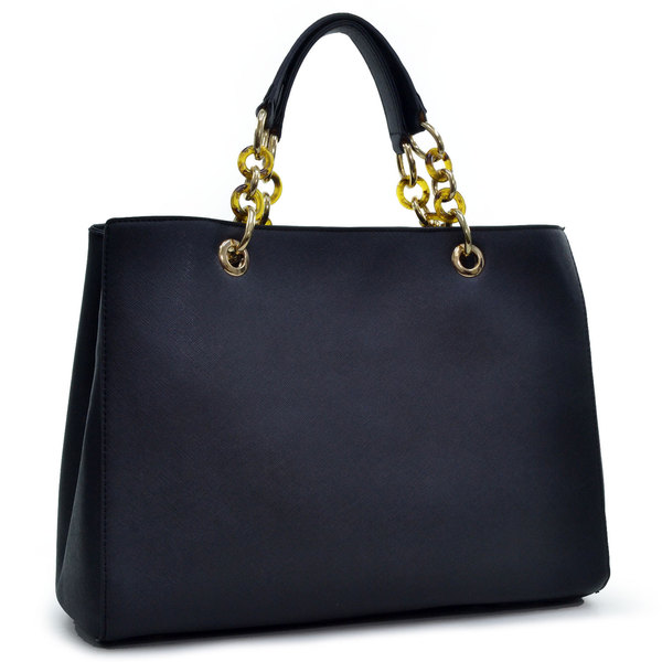 Dasein Saffiano Faux Leather Chain Strap Satchel