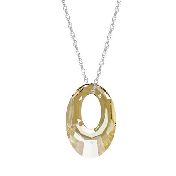 Sterling Silver Golden Shadow Austrian Crystal Helios Chain Necklace