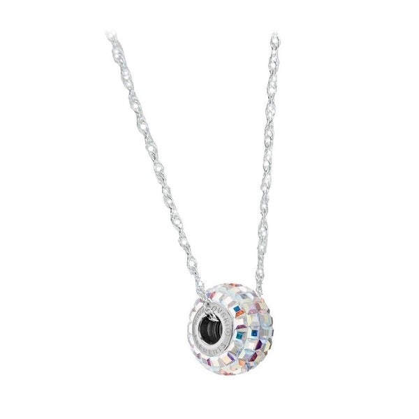 Sterling Silver Crystal Elements BeCharmed Pave AB Crystal Chain Necklace