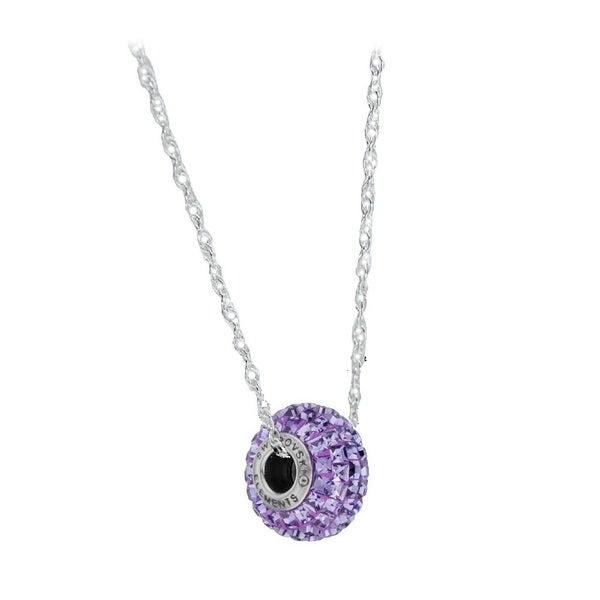 Sterling Silver Crystal Elements BeCharmed Pave Amethyst Crystal Chain Necklace