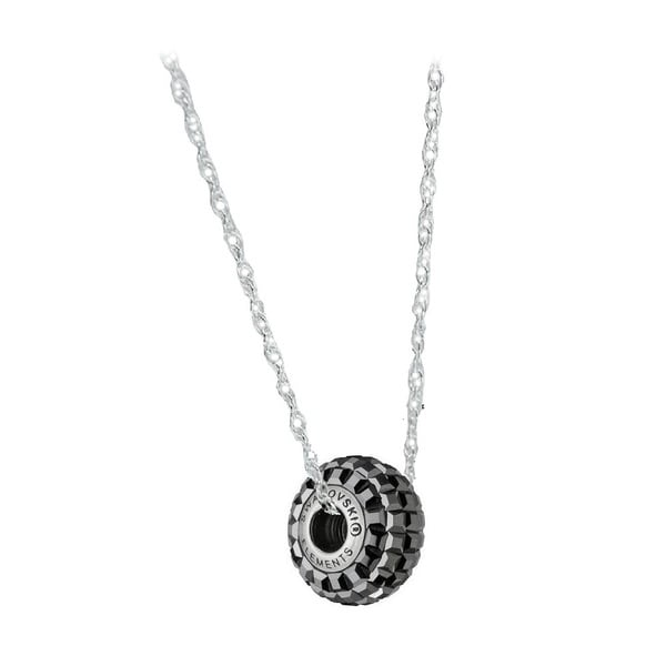 Sterling Silver Crystal Elements BeCharmed Pave Hematite Crystal Chain Necklace